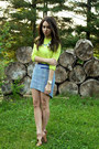 periwinkle tweed ASTR skirt - lime green neon Forever 21 sweater