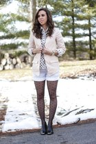 navy polka dot Jcrew shirt - black Dolce Vita boots