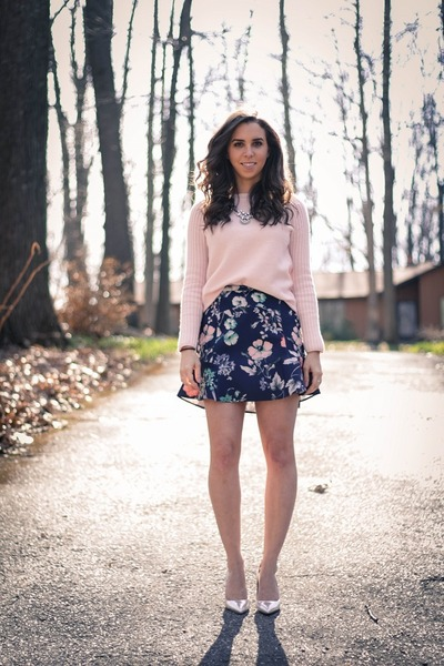 light pink wool Gap sweater - navy floral Zara skirt