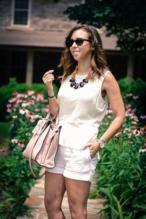white H&M shorts - light pink kate spade bag - off white Forever 21 blouse