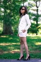 white hm blazer - white hm shorts - black dorsay Rebecca Minkoff pumps
