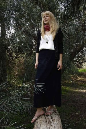 black H&M cardigan - white WIZO top - blue WIZO skirt - gold Topshop necklace -