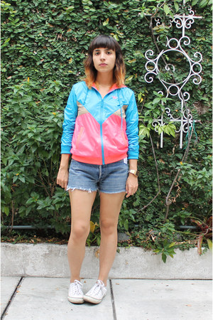 sky blue multicolored Adidas Originals hoodie - sky blue Levis shorts