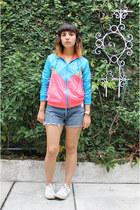 sky blue multicolored Adidas Originals hoodie - sky blue Levis shorts