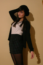 black accessories - black Zara cardigan - white H&M top - green Topshop skirt -
