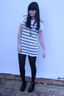 White-zara-dress-silver-necklace-black-tights-black-h-m-shoes