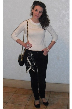 black Stradivarius jeans - cream Zara sweater - black Urban Expressions bag - be