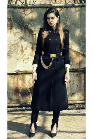 black Zara coat - black asos pants - black Forever 21 pumps