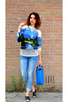 blue Zara bag - Zara jeans - Motel Rocks sweater - black Marni for H&M sandals