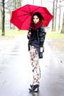 Black-h-m-jacket-black-zara-shirt-brick-red-h-m-scarf