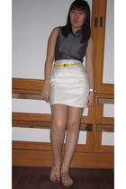 gray top - yellow SM belt - white Home made skirt