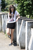 black Vans shoes - black skirt - white t-shirt