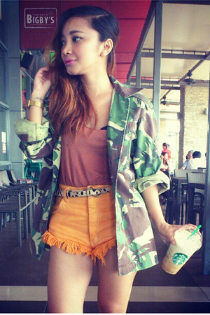 army green vintage jacket - orange fringed OMD shorts - coral Topshop top