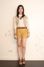Beige-zara-blazer-mustard-eyelet-vantanmanila-shorts