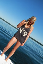 dark gray tank top Wildfox t-shirt - beige snake bikini vix swimwear