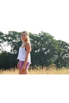 amethyst colored denim free people shorts - ivory tank crochet free people shirt