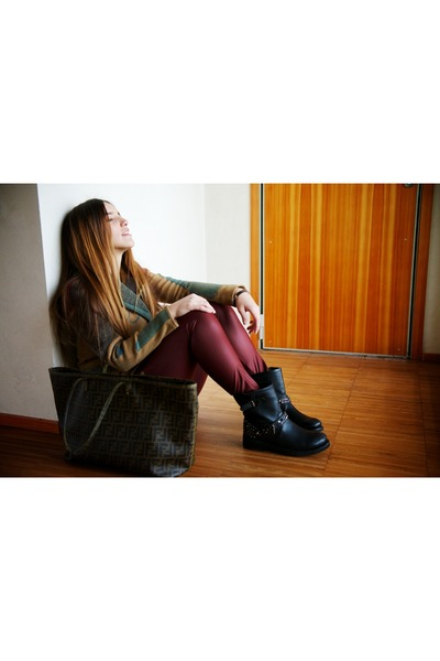 maroon Calzedonia leggings - gray Fendi bag - turquoise blue desigual cardigan