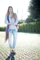aquamarine LeRock jeans - sky blue refrigue jacket - yellow Castañer wedges