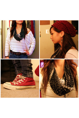 brick red Claires hat - black Forever 21 scarf - white striped top