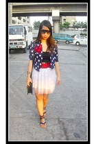 navy polka dot Shopaholic cardigan - white tutu Greenhills Bazaar skirt - deep p
