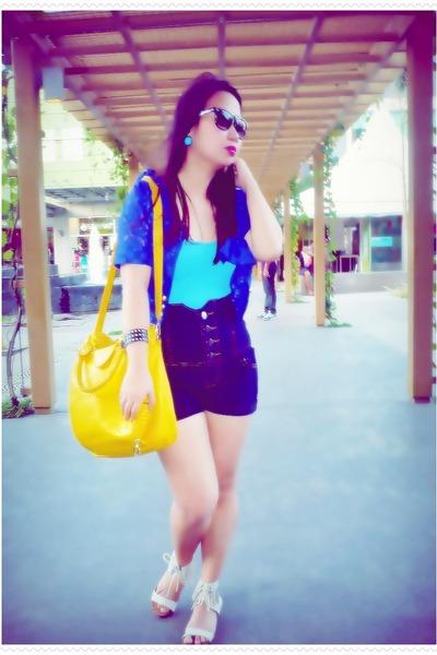 yellow random from Hong Kong bag - navy high waisted shorts - blue lace The Ramp