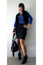 blue La Petite Francaise France top - black Dotti vest - black Kookai skirt - bl