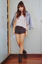 black beanie Oxygen hat - navy Topshop shorts - silver Topshop top