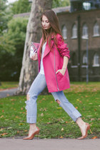 hot pink pink Primark coat - sky blue diy H&M jeans - silver clutch H&M bag