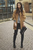 camel Hokk Fabrica coat - black River Island shoes - gray H&M jeans