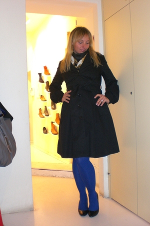 blue falke - black H&amp;M coat - black vintage - black vintage dress - black - brac
