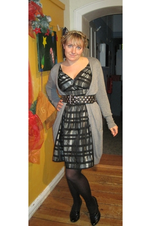 gray Zara dress - gray Zara cardigan - black Zara belt