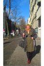 Vintage-dress-brown-belt-brown-grandpas-watch-green-h-m-hat-red-street-s