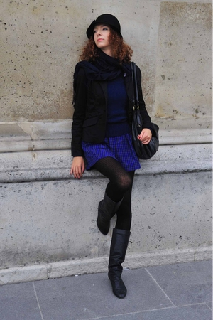 black c&amp;a hat - blue Gate dress - black Deichmann boots - blue sweater - black N