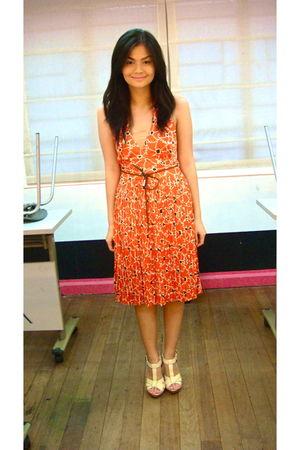 orange dress - beige H&M shoes