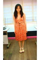 orange dress - beige H&M shoes