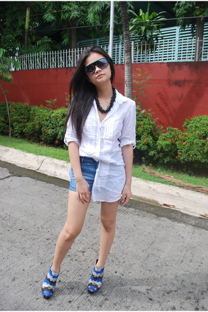 blue Hong Kong shoes - blue Zara shorts - white SM blouse