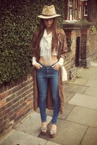 leather Zara hat - long vintage coat - high waisted orjan andersson jeans
