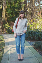 Loft sweater - Aldo Shoes shoes - American Eagle jeans - madewell blouse