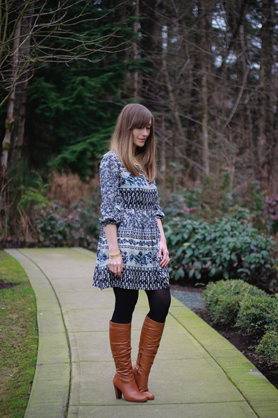 Aldo Shoes boots - Forever 21 dress - Joe Fresh tights