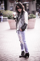 gray colorblocked gestuz jacket - black nation Jeffrey Campbell boots