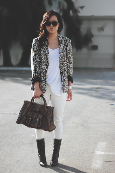 white H&amp;M top - black Giuseppe Zanotti boots - light brown Zara blazer