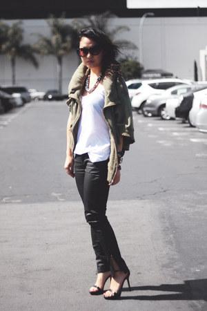 military hoodie IT jacket - black Zara pants - black Zara sandals