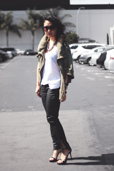 military hoodie IT jacket - black Zara pants - black Zara sandals