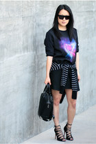 black Schutz shoes - black space H&M sweater - black emile Alexander Wang bag