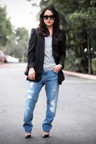 black studded Zara blazer - blue boyfriend jeans Zara jeans