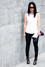 White-clutch-h-m-bag-black-lamb-heels-black-waxed-jeans-zara-pants