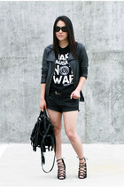 black Schutz shoes - black Zara jacket - black Alexander Wang bag
