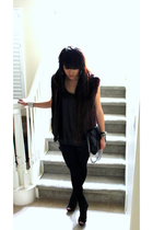 black vintage vest - American Apparel leggings - black Zara shorts - black top -