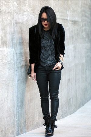 black velvet Jarlo London blazer - black Zara boots - gray Zara shirt