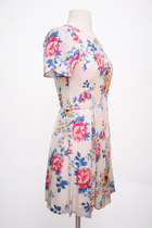 Elegant Vintage Floral Pleated Dress